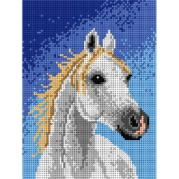 TAPESTRY CANVAS White Horse 18x24cm 1786F