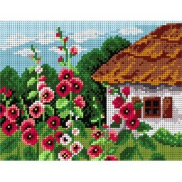 TAPESTRY CANVAS Summer Cottage with Mallows 18x24cm 1798F
