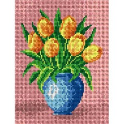 TAPESTRY CANVAS Yellow Tulips 18x24cm 1826F