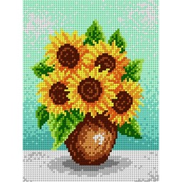 TAPESTRY CANVAS Sunflowers in a Brown Vase 18x24cm 1940F