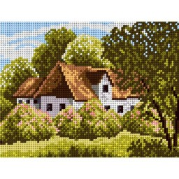TAPESTRY CANVAS Forestry Hut 18x24cm 1970F