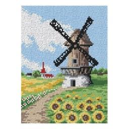 TAPESTRY CANVAS Windmill 18x24cm 1983F