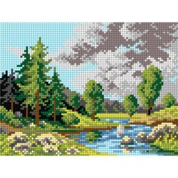 TAPESTRY CANVAS Landscape with River 18x24cm 2058F