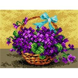 TAPESTRY CANVAS Basket of Violet 18x24cm 2075F