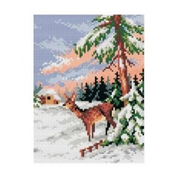TAPESTRY CANVAS Winter Landscape with Roe Deer 18x24cm 2077F