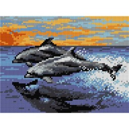 TAPESTRY CANVAS Lumping Dolphins 18x24cm 2094F