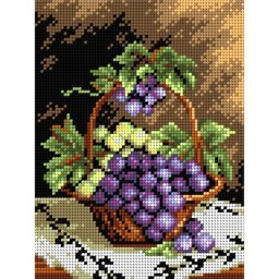 TAPESTRY CANVAS Basket with Grapes 18x24cm 2098F