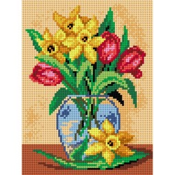 TAPESTRY CANVAS Tulips and Daffodils 18x24cm 2101F