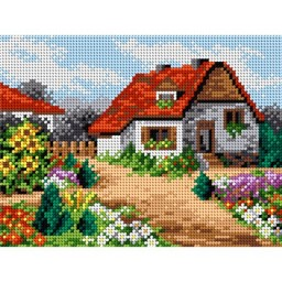 TAPESTRY CANVAS Court Yard with Flowers 18x24cm 2126F