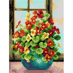 TAPESTRY CANVAS Bouquet in a Blue Vase 18x24cm 2272F