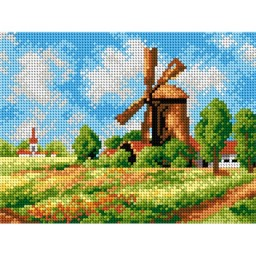 TAPESTRY CANVAS Summer Landscape with Windmill 18x24cm 2276F
