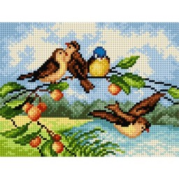 TAPESTRY CANVAS Birds on a Branch 18x24cm 2317F