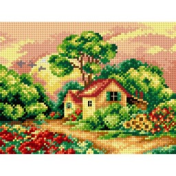 TAPESTRY CANVAS Summer Landscape with Cottage 18x24cm 2396F