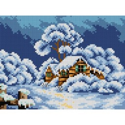 TAPESTRY CANVAS Winter Landscape with the Cottage 18x24cm 2397F