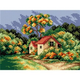 TAPESTRY CANVAS Autumn Landscape with Cottage 18x24cm 2398F