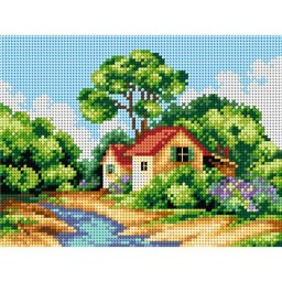 TAPESTRY CANVAS Spring Landscape with Cottage 18x24cm 2400F