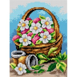 TAPESTRY CANVAS Basket of Flowers 18x24cm 2418F