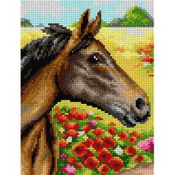 TAPESTRY CANVAS Horse on a Meadow 18x24cm 2431F