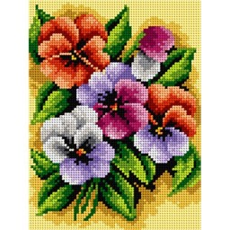 TAPESTRY CANVAS A Bunch with Pansies 18x24cm 2482F