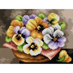 TAPESTRY CANVAS Small Basket with Pansies 18x24cm 2546F