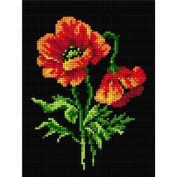 TAPESTRY CANVAS Red Poppies 18x24cm 2573F