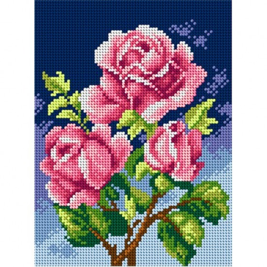 TAPESTRY CANVAS Pink Roses 18x24cm 2594F