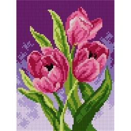 TAPESTRY CANVAS Spring Tulips 18x24cm 2596F