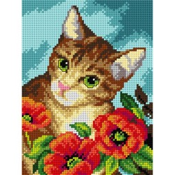 TAPESTRY CANVAS Cat and Poppies 18x24cm 2619F