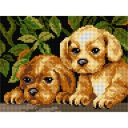 TAPESTRY CANVAS Puppies 18x24cm 2627F