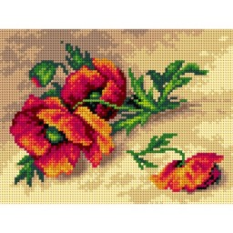 TAPESTRY CANVAS Wild Red Poppies 18x24cm 2634F