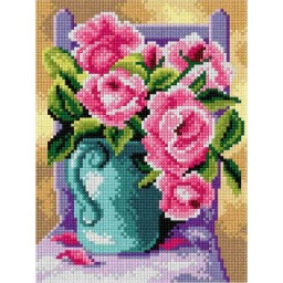 TAPESTRY CANVAS Still Life with Roses 18x24cm 2893F