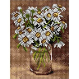 TAPESTRY CANVAS Daisies in a Glass Vase 18x24cm 2896F