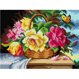 TAPESTRY CANVAS A Basket of Flowers and a Butterfly after Hans Zalzka 18x24cm 2926F