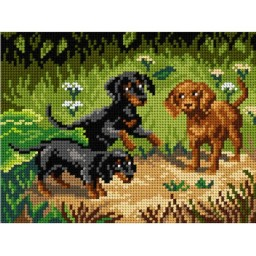 TAPESTRY CANVAS Dachshunds after Joseph Spertich 18x24cm 2965F