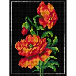 TAPESTRY CANVAS Red Poppies 18x24cm 2991F