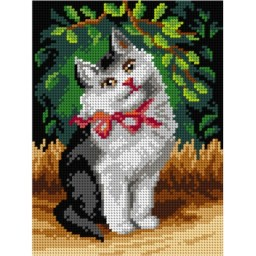 TAPESTRY CANVAS Cat with Ribbon 18x24cm 3104F
