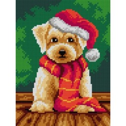 TAPESTRY CANVAS Dog Waiting for Christmas 18x24cm 3171F