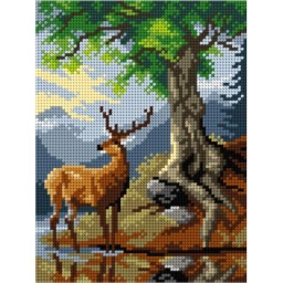 TAPESTRY CANVAS A stag by Lake Cosau after Friedrich Gauermann 18x24cm 3173F