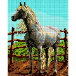 TAPESTRY CANVAS White Horse 24X30cm 1250H
