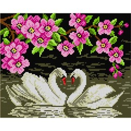 TAPESTRY CANVAS Swans in Love 24X30cm 1703H