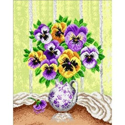TAPESTRY CANVAS Vase of Pansies 40X50cm 1962M