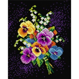 TAPESTRY CANVAS Bouquet of Pansies and Lillies of the Valley 24X30cm 1972H