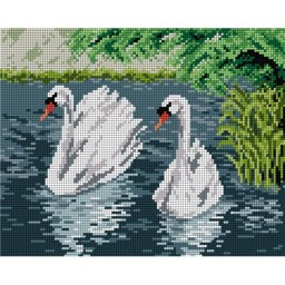 TAPESTRY CANVAS Swans on a Lake 24X30cm 1974H