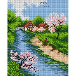 TAPESTRY CANVAS Spring river 24X30cm 1979H