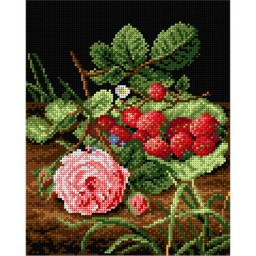 TAPESTRY CANVAS Rose with Strawberries after Otto Didrik Ottesen 24X30cm 1992H