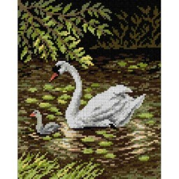 TAPESTRY CANVAS Swans in the park 24X30cm 2086H