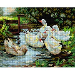 TAPESTRY CANVAS Landscape with Ducks - after Alexander Max Koester 24X30cm 2211H
