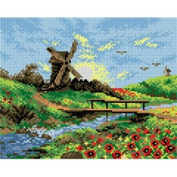 TAPESTRY CANVAS Windmill and Poppies 24X30cm 2139H