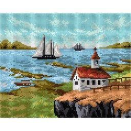 TAPESTRY CANVAS Landscape with Cburcb 24X30cm 2159H