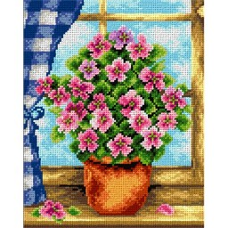TAPESTRY CANVAS Summer Flowers in the Window 24X30cm 2180H